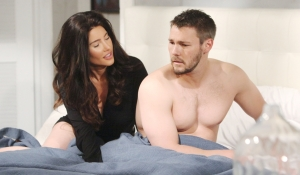 Steffy smiles as Liam looks worried Bold and Beautiful