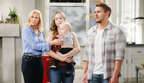 Brooke and Hope annoyed, standing with Beth, Liam Bold and Beautiful