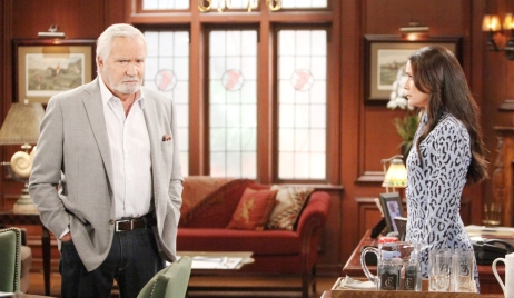 Eric looking concerned with Quinn on Bold and Beautiful