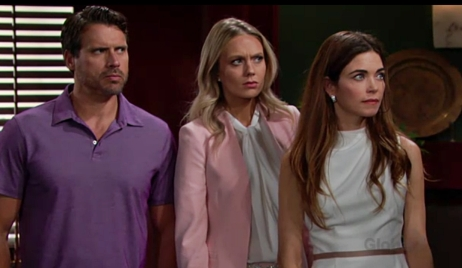 Nick, Abby and Victoria look at Adam Young and Restless