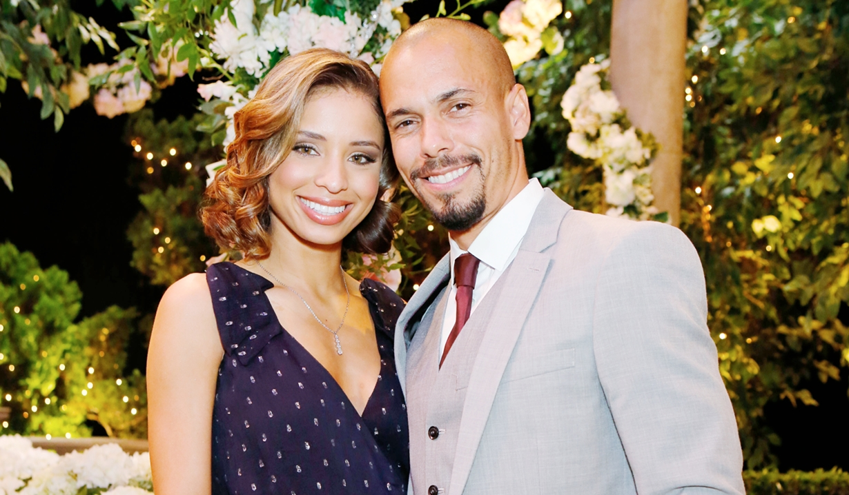 Elena and Devon at wedding Young and Restless