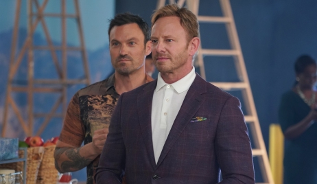 Ian Ziering and Brian Austin Green on the BH90210 set