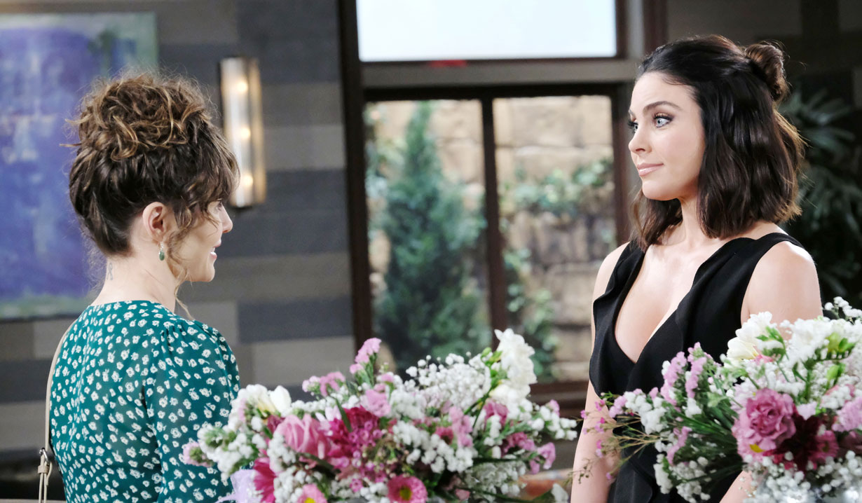 chloe and sarah chat at doug's place on days of our lives