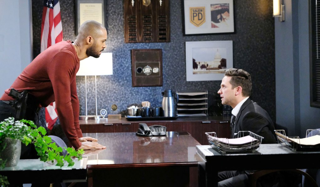 eli questions stefan at salem pd on days of our lives