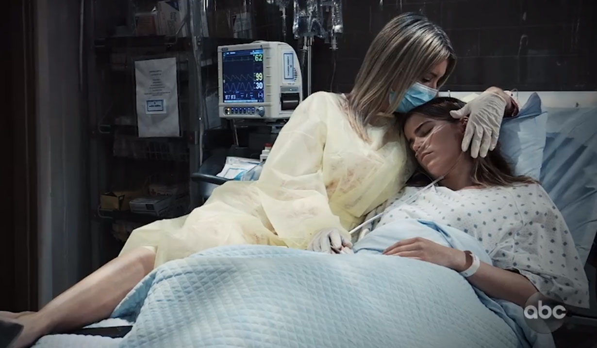 nina holds sasha on general hospital