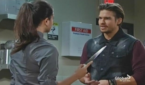 Lola holds Theo at knifepoint Young and Restless