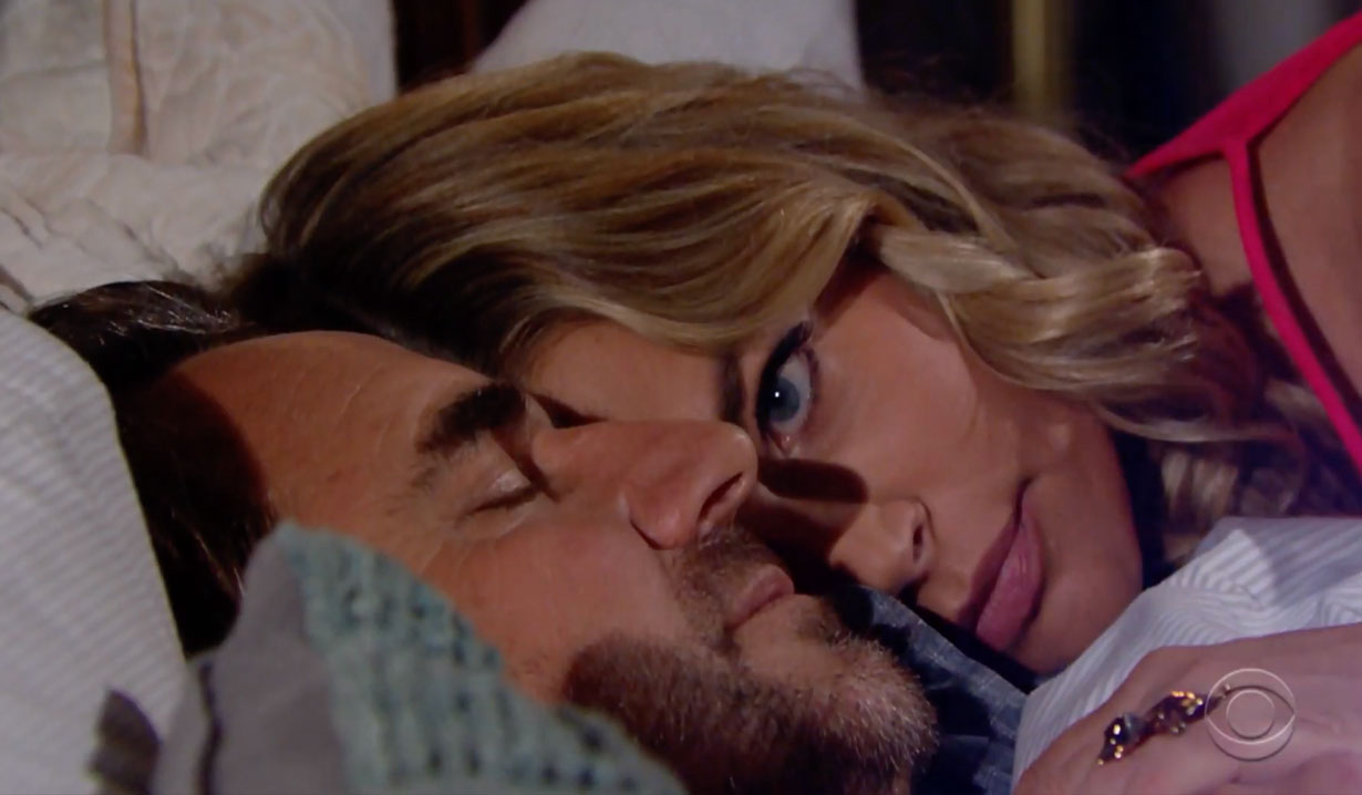 Ridge and Shauna in bed on Bold and the Beautiful
