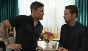 Brian and Jason talk at the kick-off party on BH90210