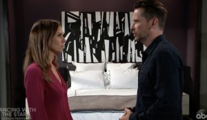 Kim and Franco at hotel on General Hospital