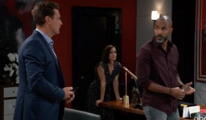 Jax, Hayden, Curtis at Aurora office on General Hospital