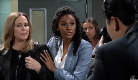 Jordan saves Laura from the press on General Hospital
