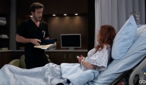 Lucas tends to Bobbie in her room at General Hospital