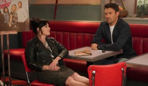 Shannen and Brian on the Peach Pit set on BH90210