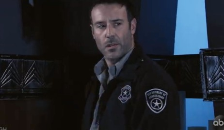 Shiloh looks nervous while wearing a security uniform on General Hospital