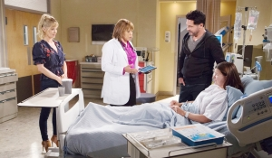 Donna, Bill, Dr. Davis, Katie in hospital Bold and Beautiful