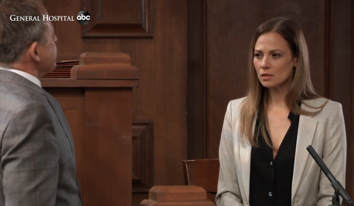 Kim grilled on the stand General Hospital