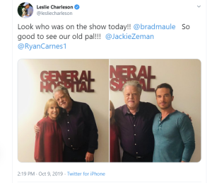 Leslie Charleson posts with brad maule on general hospital