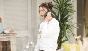 Steffy on phone at Halloween Bold and Beautiful
