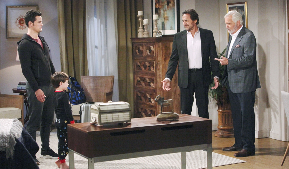 Thomas and Douglas talk to Ridge and Eric at home Bold and Beautiful