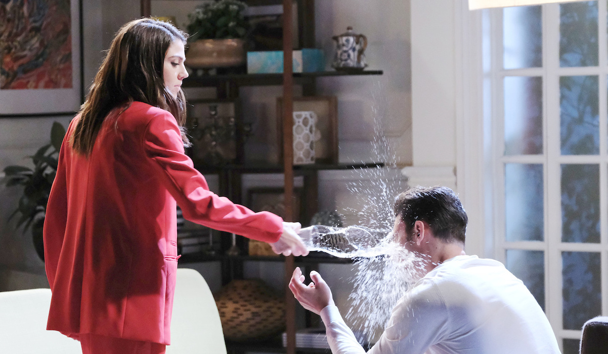 Abby throws water in Chad's face on Chad & Abby in Paris