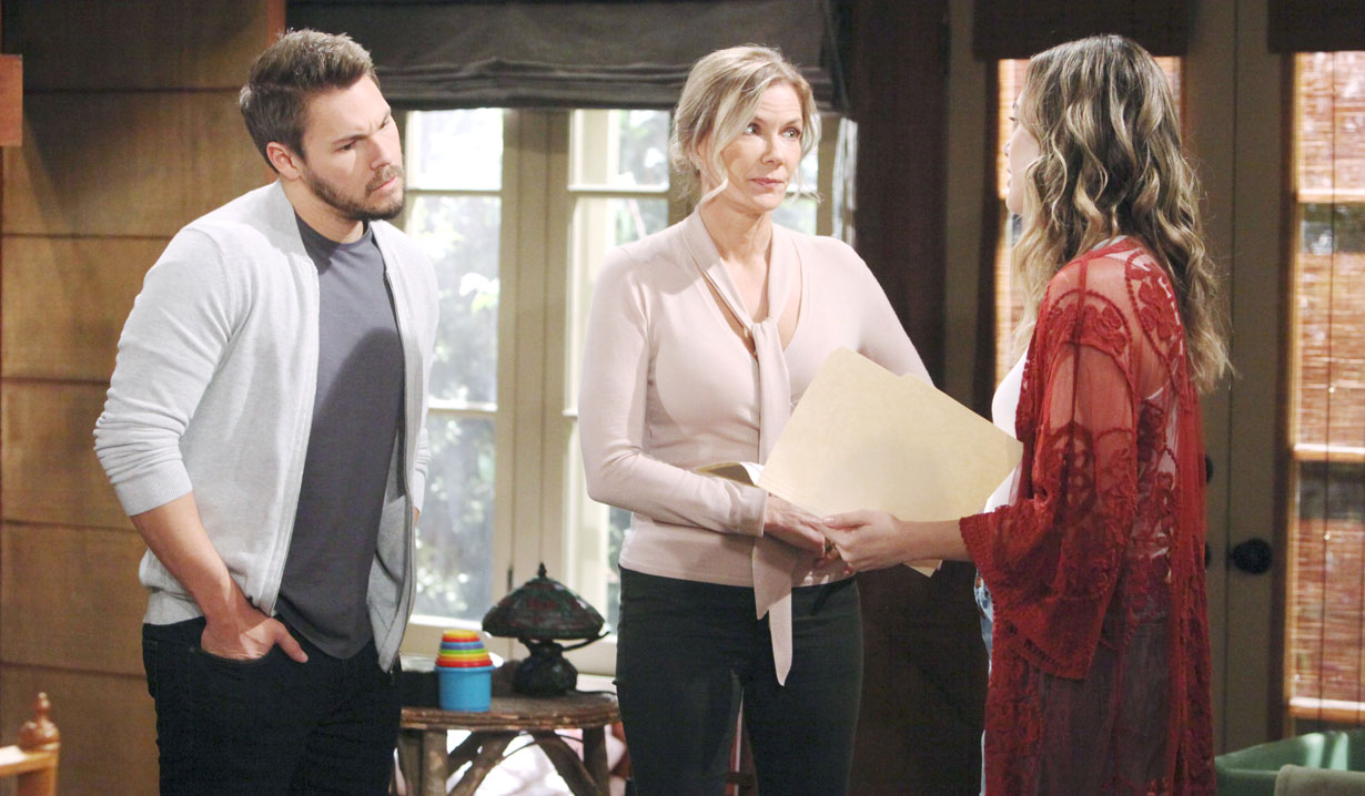 brooke brings papers to cabin about douglas on bold and beautiful
