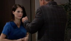 Elizabeth listens to Scott's strategy on General Hospital