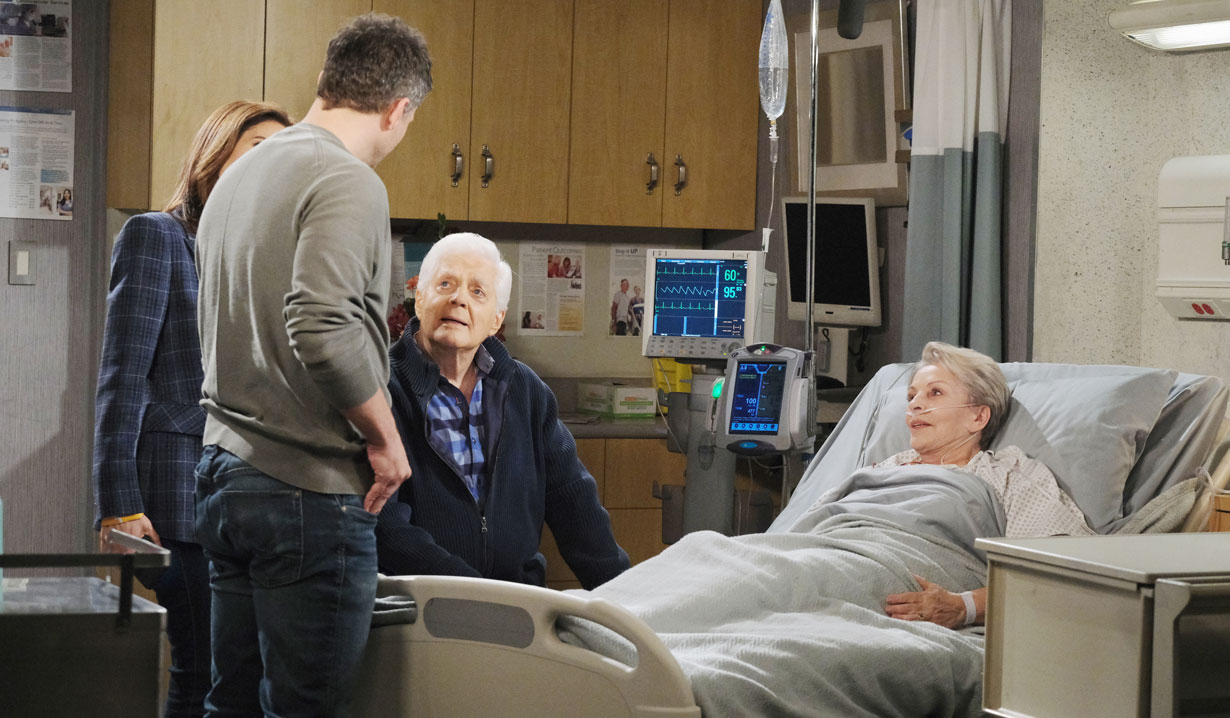eric, hope and doug visit julie in hospital on days of our lives