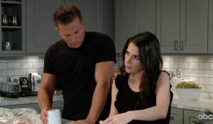 Jason and Sam in Sonny's kitchen on General Hospital