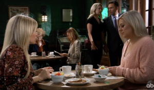 Lulu, Maxie, Nina and Valentin at Kelly's on General Hospital