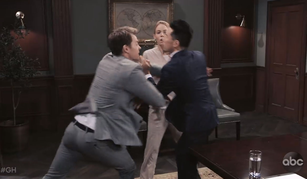 michael attacks brad at nelle's parole hearing on general hospital
