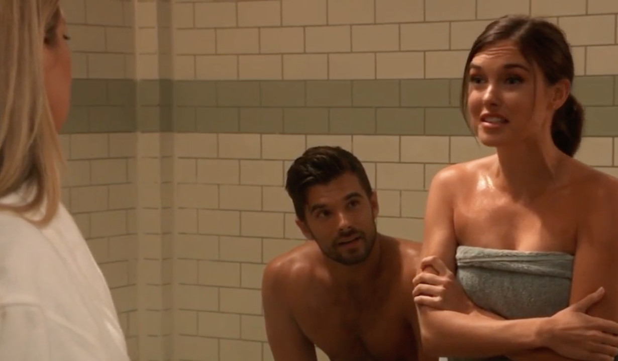 Willow and Nina argue in the steam room on General Hospital
