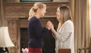 Brooke and Hope crying Bold and Beautiful