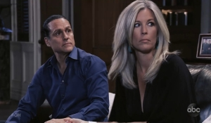 Carly and Sonny eavesdrop General Hospital