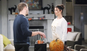Liam and Steffy discussion Halloween Bold and Beautiful