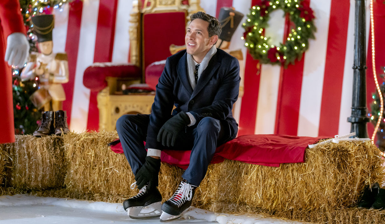 Michael Rady sits on hay in Hallmark's Two Turtle Doves