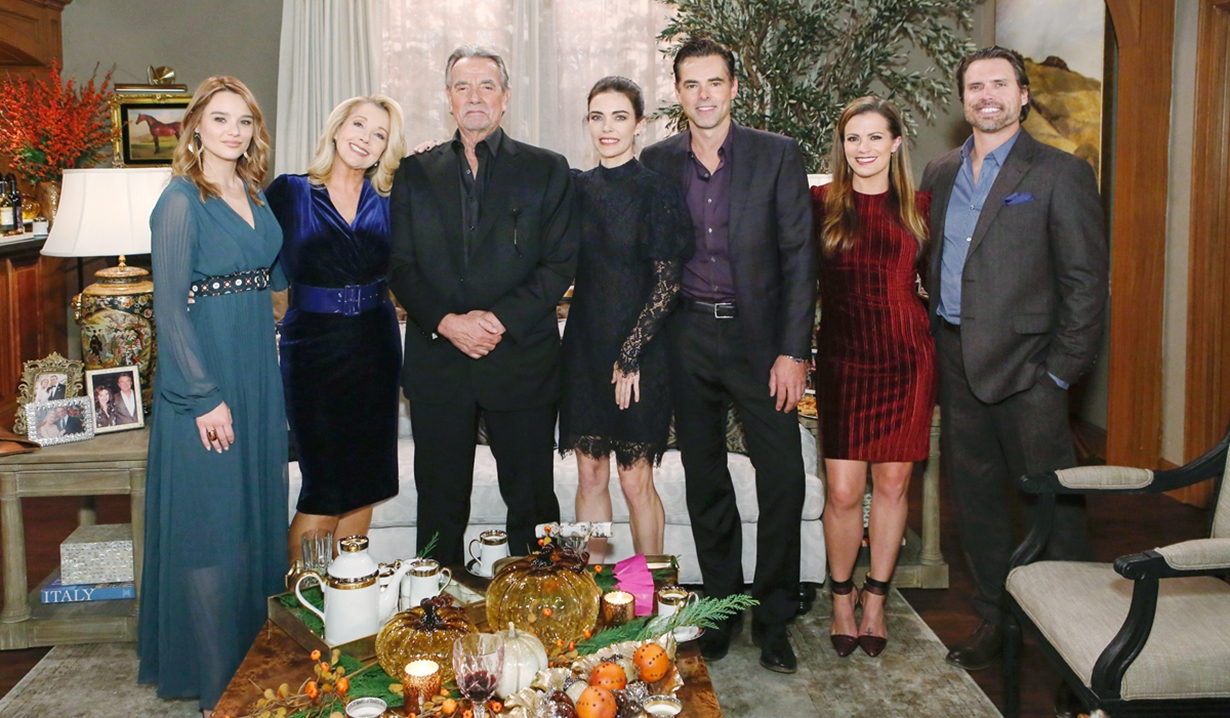 Summer, Nikki, Victor, Victoria, Billy, Chelsea and Nick at Thanksgiving Young and Restless