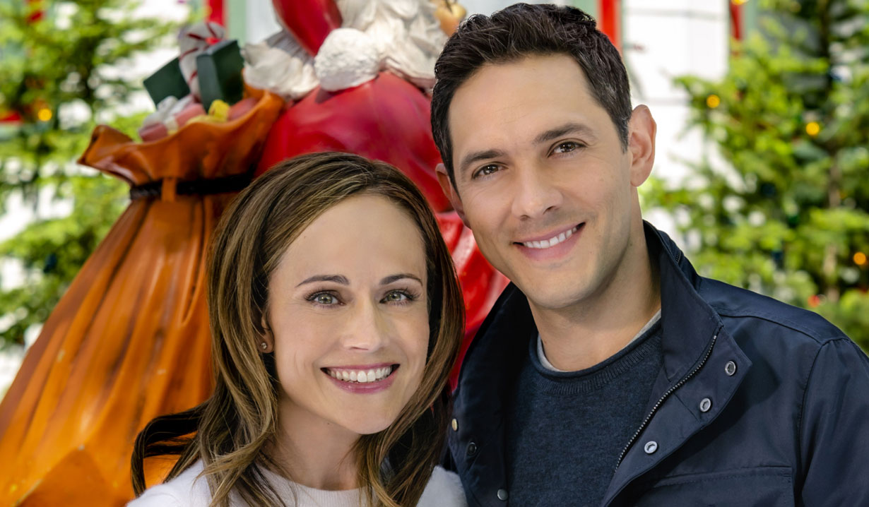 Nikki DeLoach, Michael Rady smile in Hallmark's Two Turtle Doves