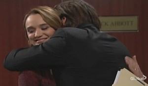 Summer awkward hug Theo Young and Restless