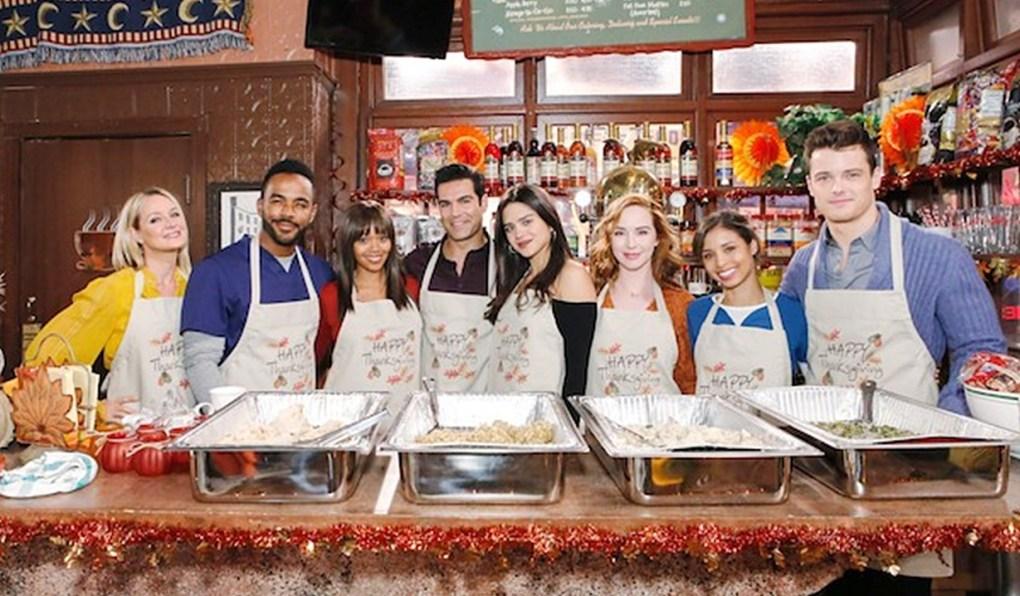 Sharon, Nate, Amanda, Rey, Lola, Mariah, Elena, Kyle Thanksgiving Young and Restless