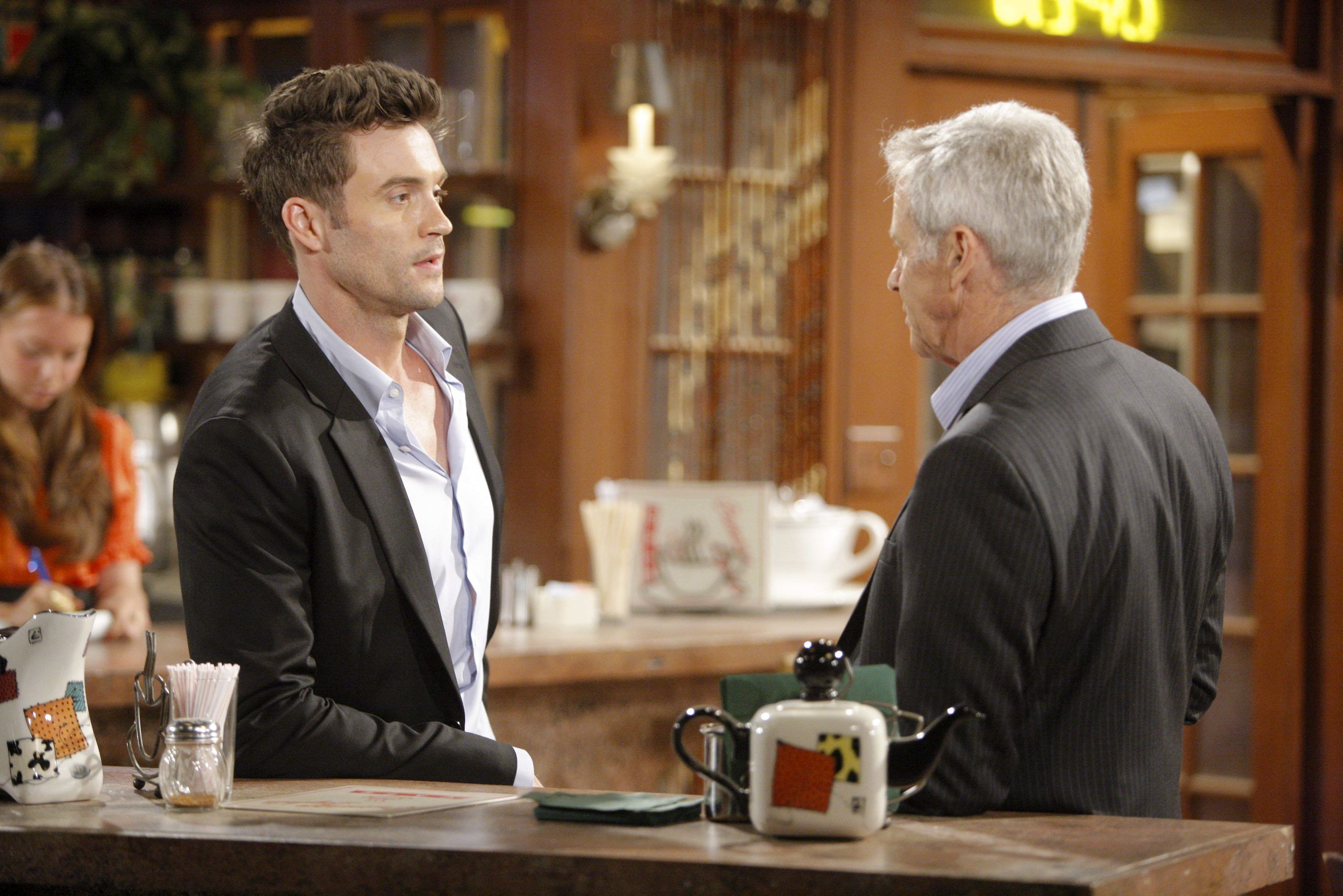 "Daniel Goddard, Tristan Rogers""The Young and the Restless"" Set CBS television CityLos Angeles07/14/11©sean smith/jpistudios.com310-657-9661Episode # 9719U.S. Airdate 08/18/11"