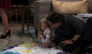Finn colors with Violet on General Hospital