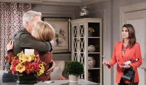 Gina watches John hug Marlena days of our lives