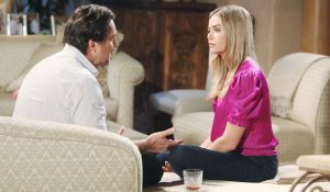 ridge and shauna share a drink and talk on bold and beautiful