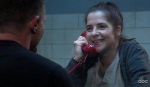 Sam smiles as she talks to Jason in prison on General Hospital