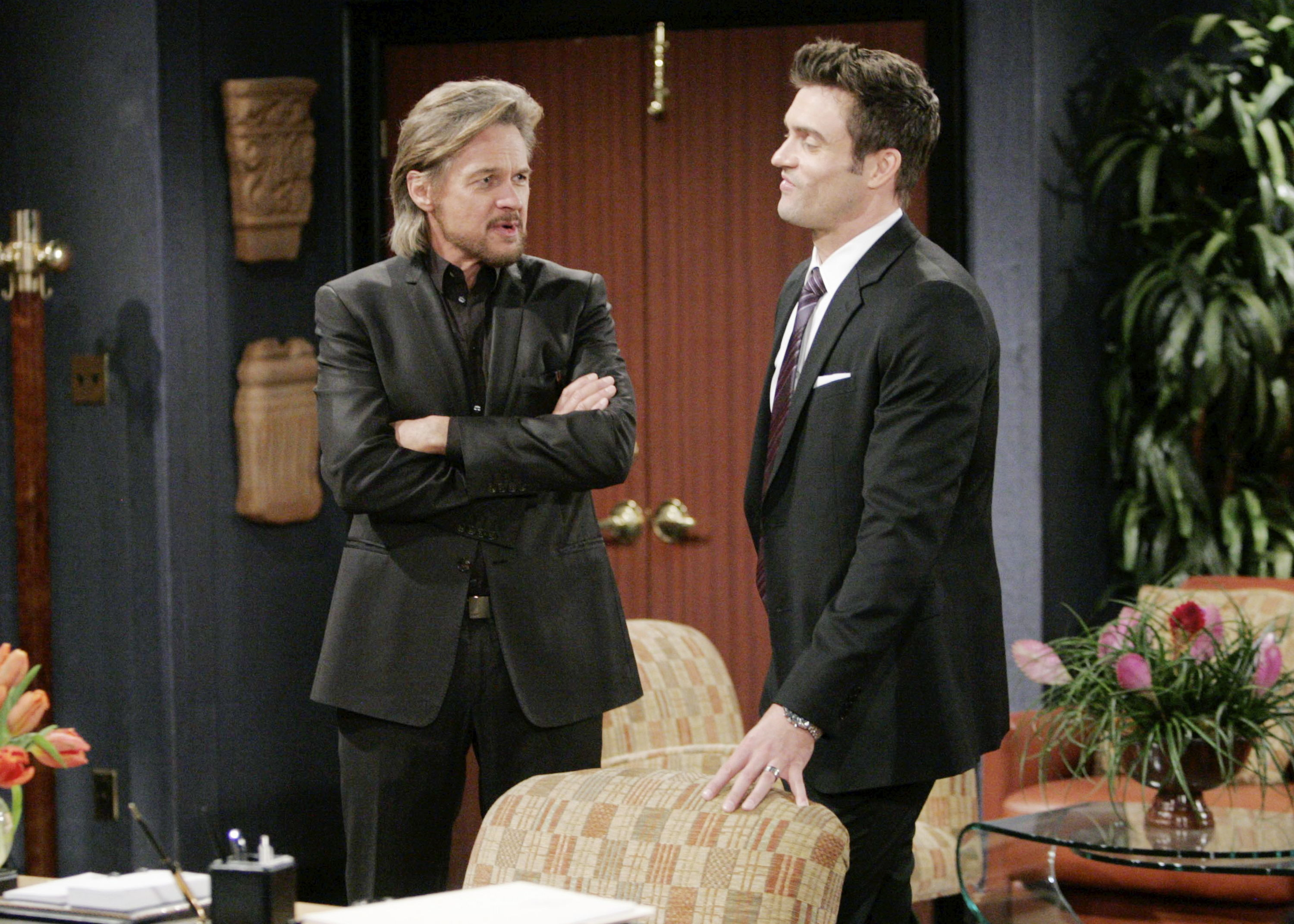 "Daniel Goddard, Stephen Nichols""The Young and the Restless"" Set CBS television CityLos Angeles02/15/12©sean smith/jpistudios.com310-657-9661Episode # 9867U.S. Airdate 03/21/12"