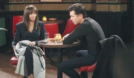 Amanda and Billy talk at bar Young and Restless