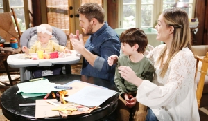 Hope, Liam and Douglas look at Beth Bold and Beautiful