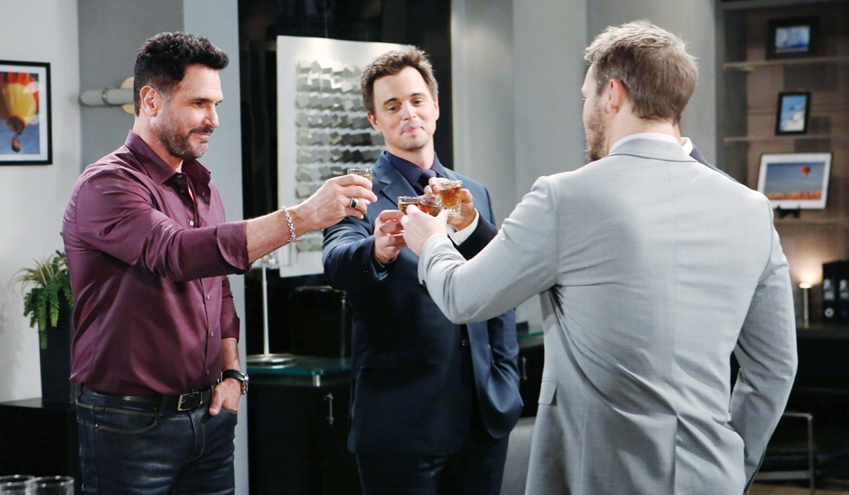 Bill, Wyatt, Justin and Liam toast on Bold and Beautiful