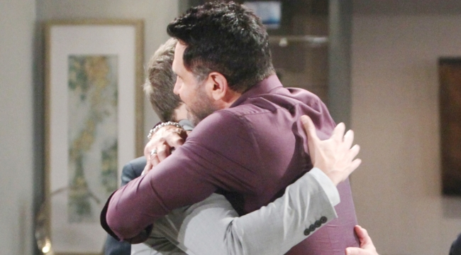 Bill hugs Liam at Spencer Publications Bold and Beautiful