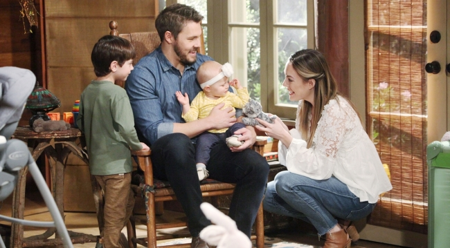Douglas, Beth, Liam and Hope smile in group Bold and Beautiful